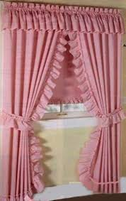 Pink Ruffle Curtain Topper by Priscilla Curtains With Attached Valance Ruffled Window Picture