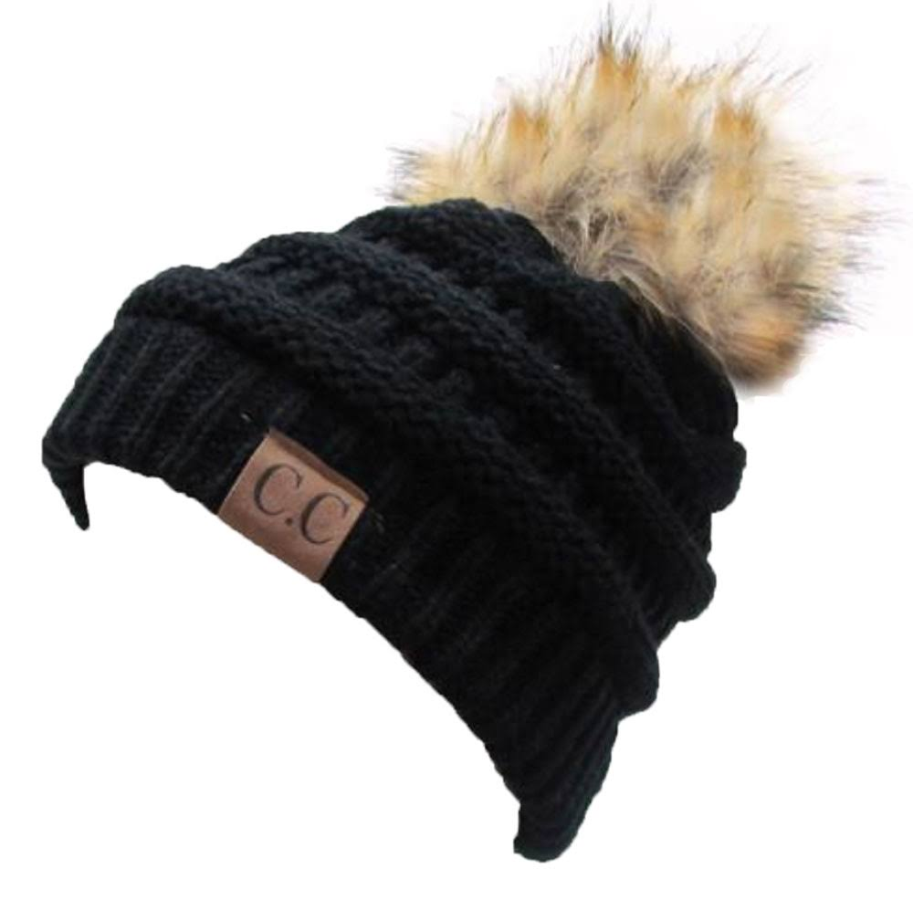 Hatsandscarf CC Exclusives Unisex Ombre Ribbed Confetti Knit Beanie - With Pom, Black, One Size
