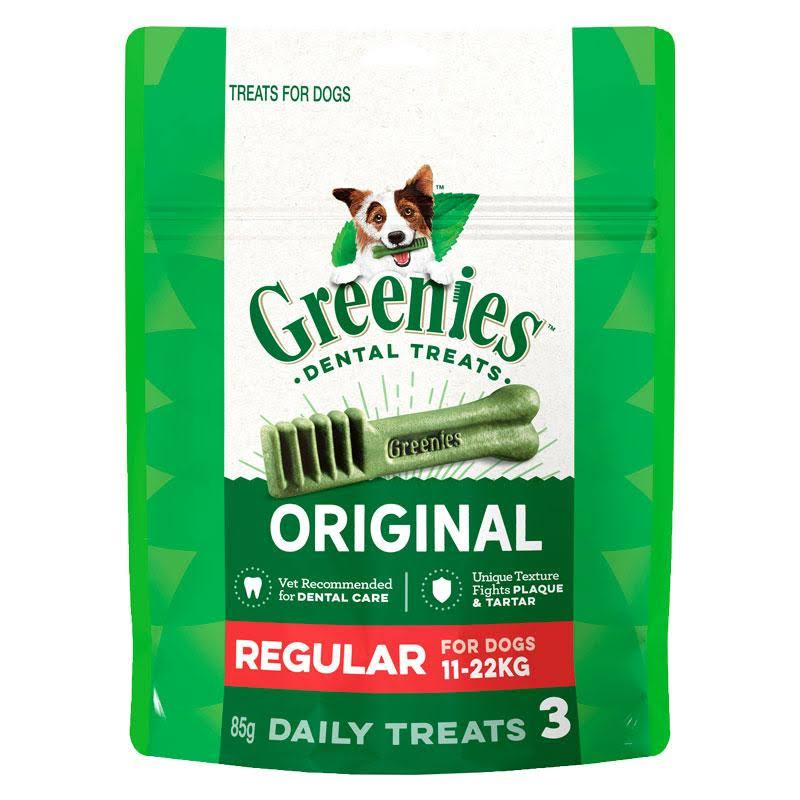 Greenies Dental Treats, for Dogs, Original, Regular (25-50 Pounds) - 3 treats, 3 oz