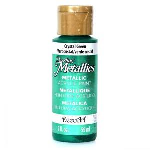DecoArt Dazzling Metallics Acrylic Paint - Crystal Green, 2oz