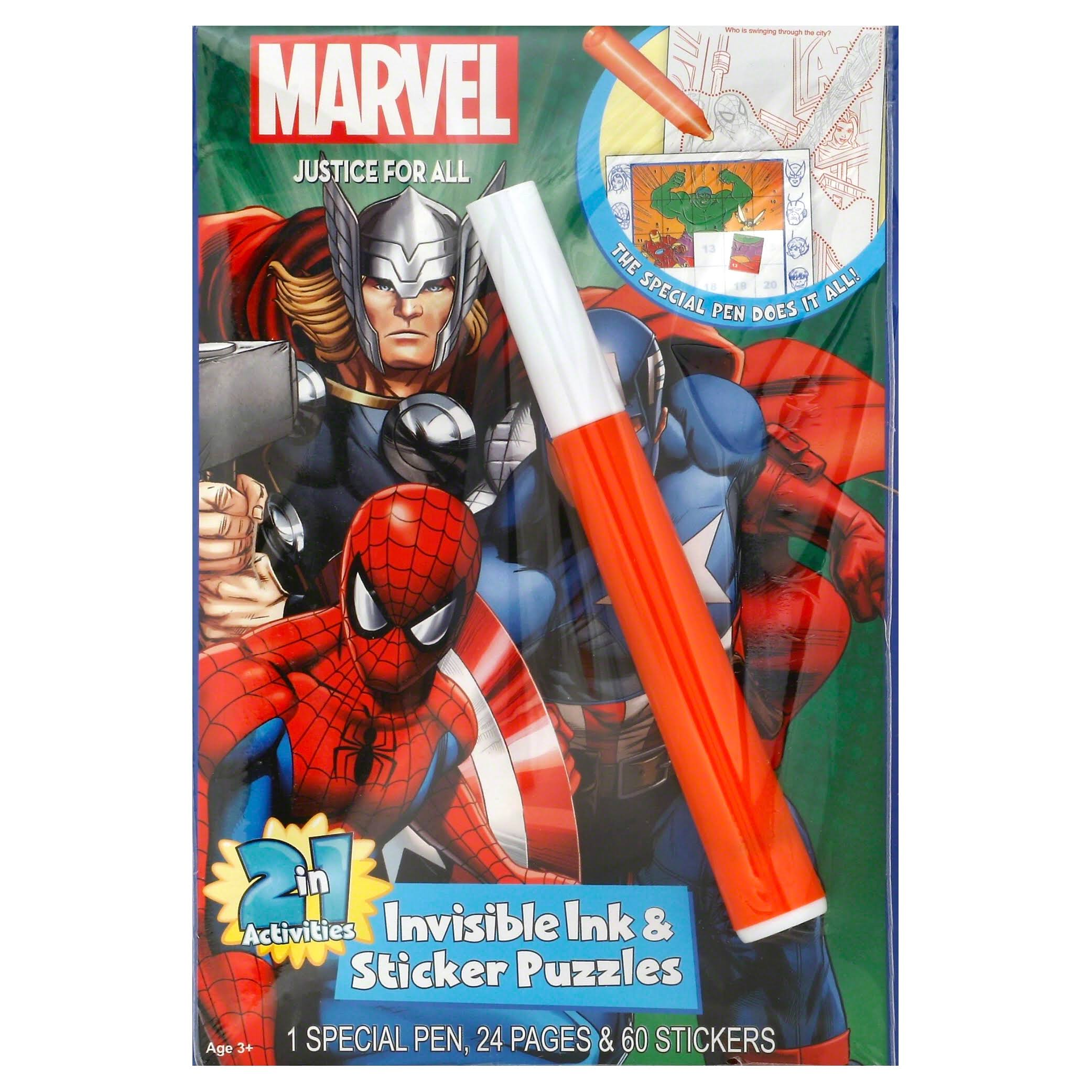 Marvel Heros Justice for All 2in1 Invisible Ink Sticker Puzzle