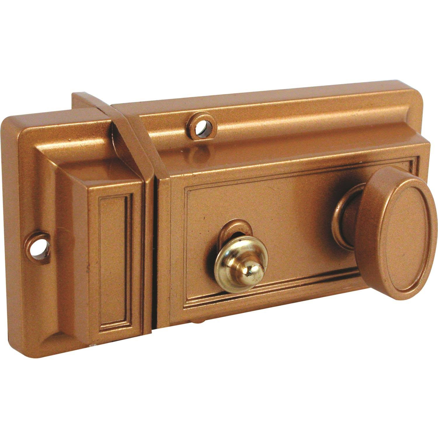 Prime Line Single Cylinder Locking Night Latch - Brass