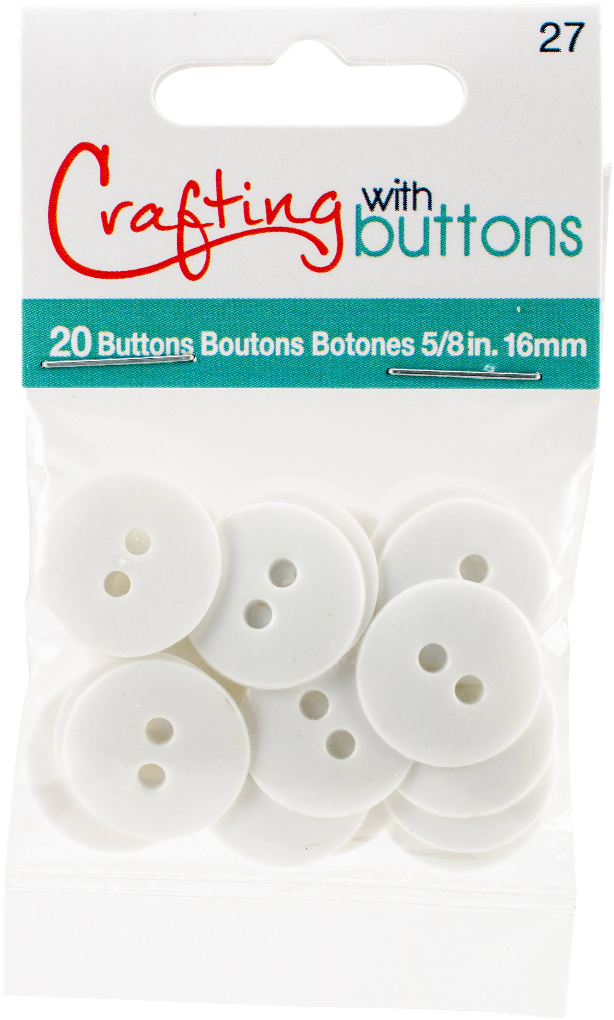 Small Color Buttons 20/Pkg - White 5/8""