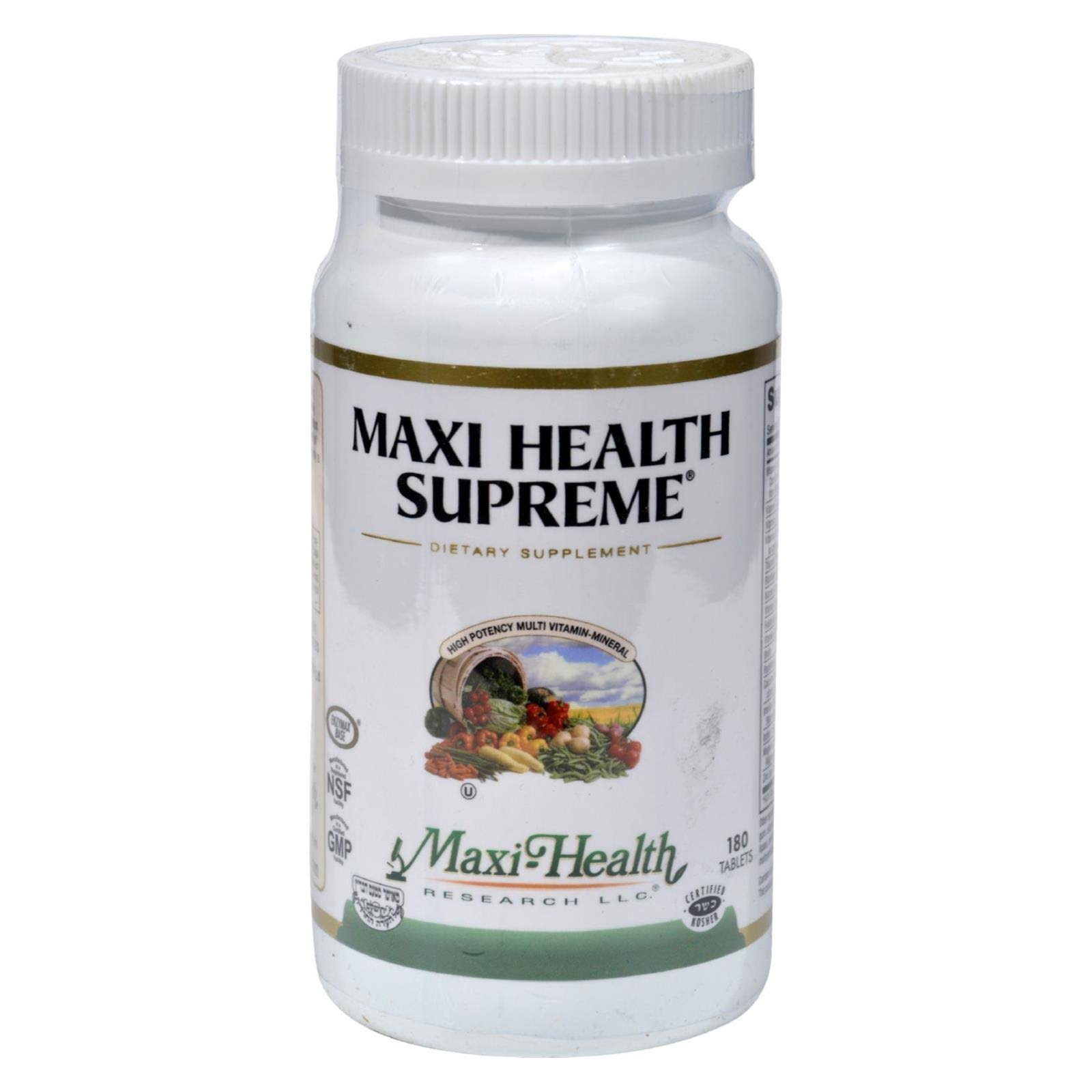 Maxi Health Supreme High Potency Multivitamin and Mineral Supplement - 180 Count