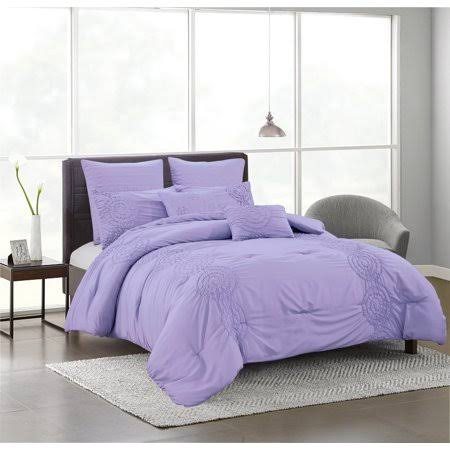 Olivia Gray Hillstone 7-Piece Solid Smocked Comforter Set in Lilac - Queen, Purple