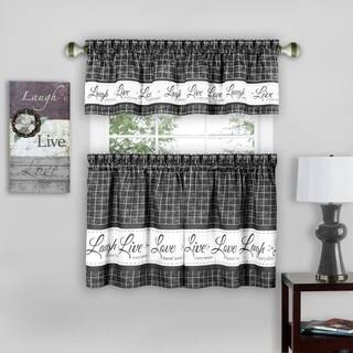 Achim Live, Love, Laugh Window Curtain Tier Pair and Valance Set - 58x36 - Charcoal, Size: 58 x 36, Black
