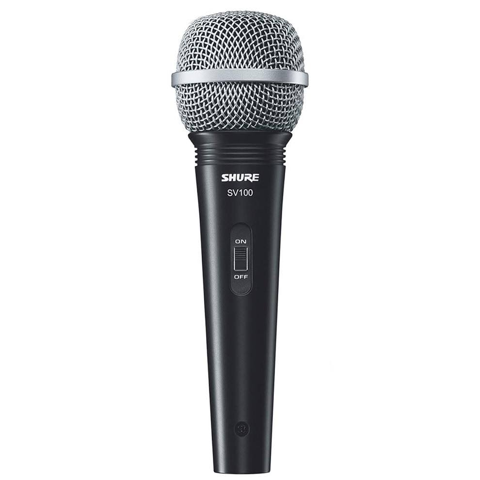 "Shure SV100-W Cardioid Dynamic Microphone - XLR-1/4"" Cable, 1/4"" Ad"