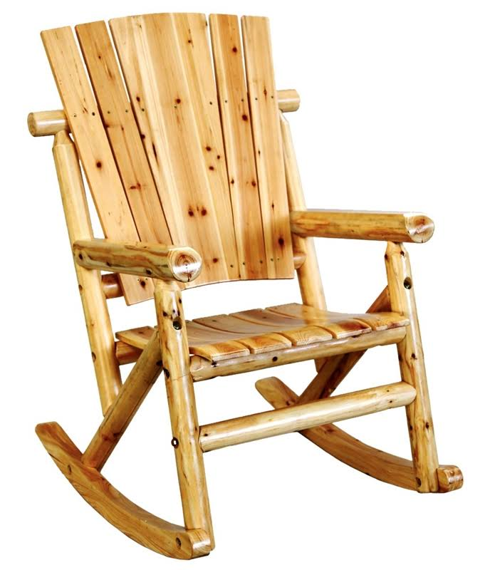 Leigh Country TX 95100 Aspen Wood Outdoor Rocking Chair - Brown