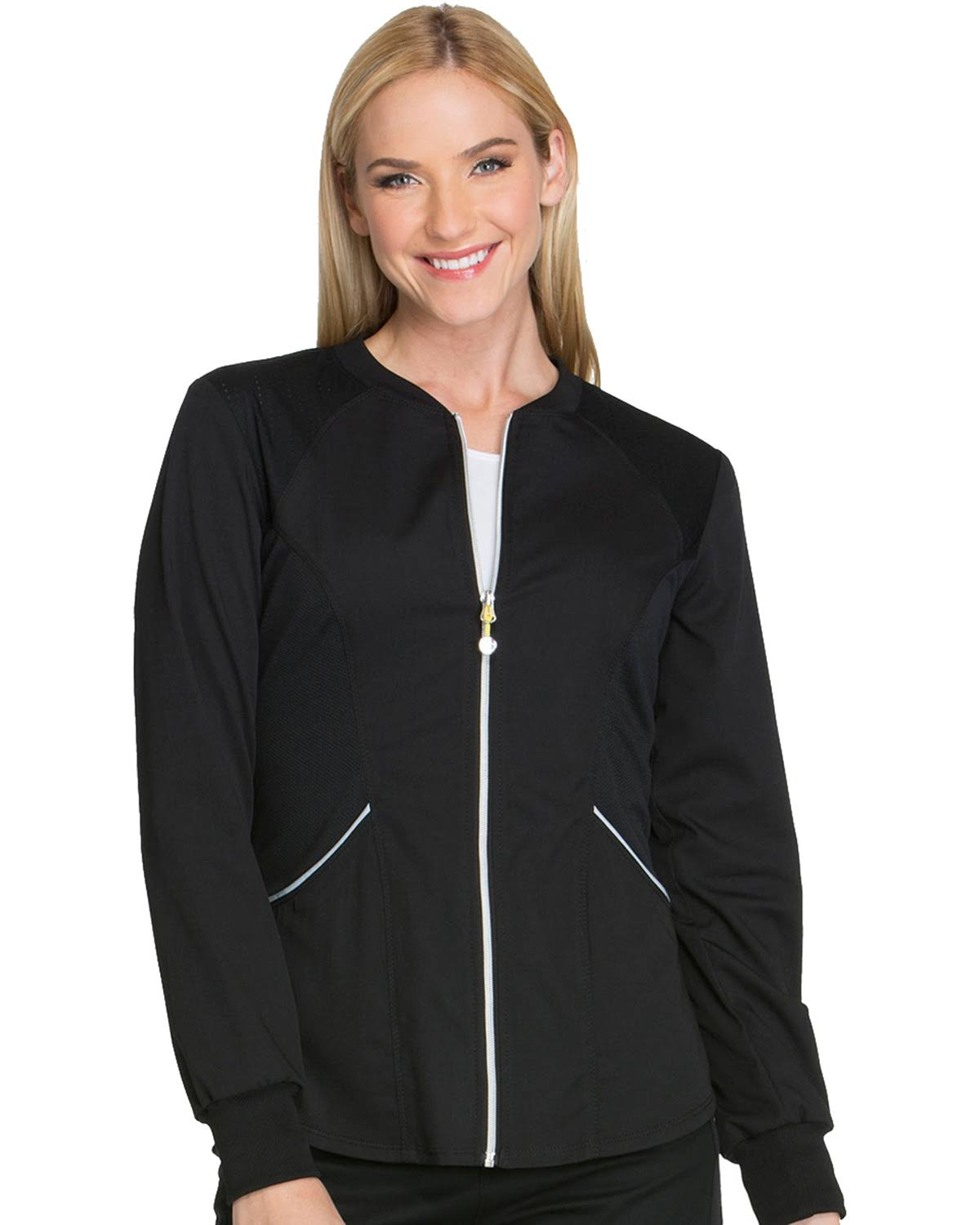 Cherokee Women's Luxe Sport Zip Front Warm-Up Jacket, Black, 2XL
