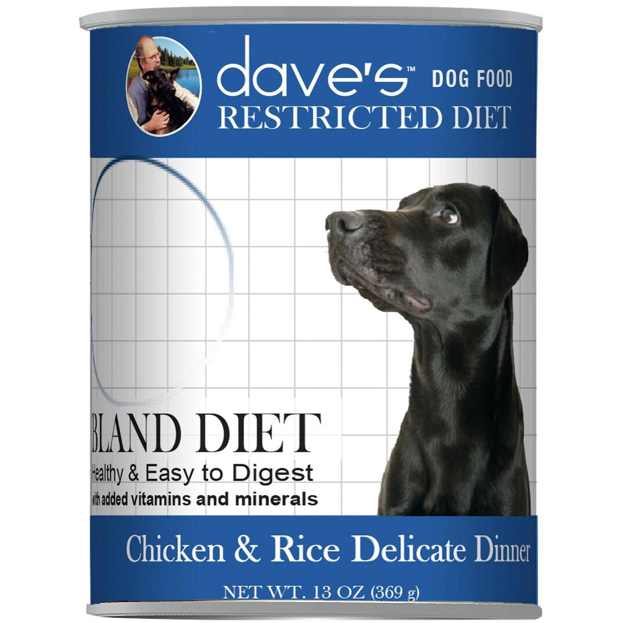 Dave's Restricted Diet Bland Chicken and Rice Canned Dog Food 13 oz