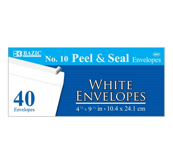 Bazic 10 Self Seal White Envelope - 40pk