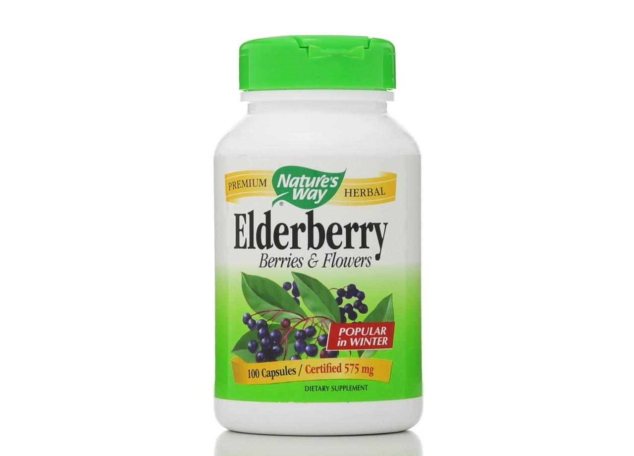 Natures Way Black Elderberry, 575 mg, Vegetarian Capsules - 100 capsules
