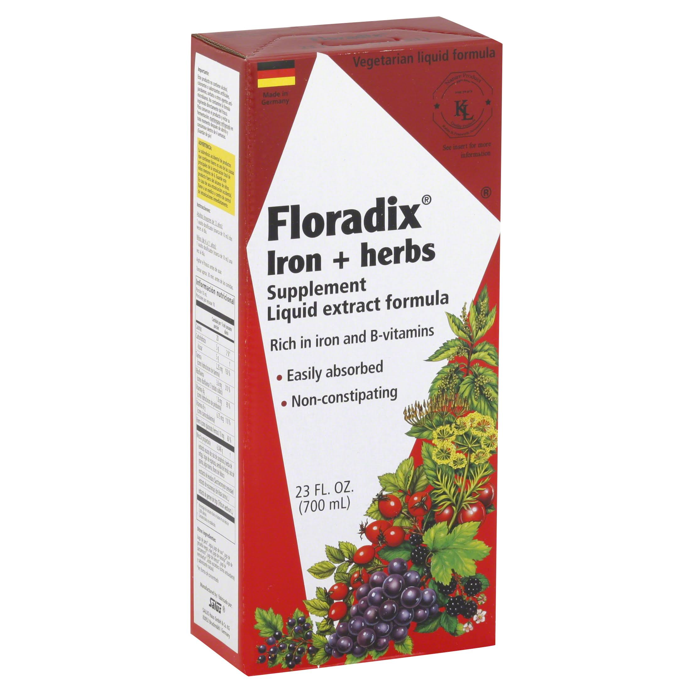 Flora Floradix Iron + Herbs Supplement Liquid Extract Formula - 700ml