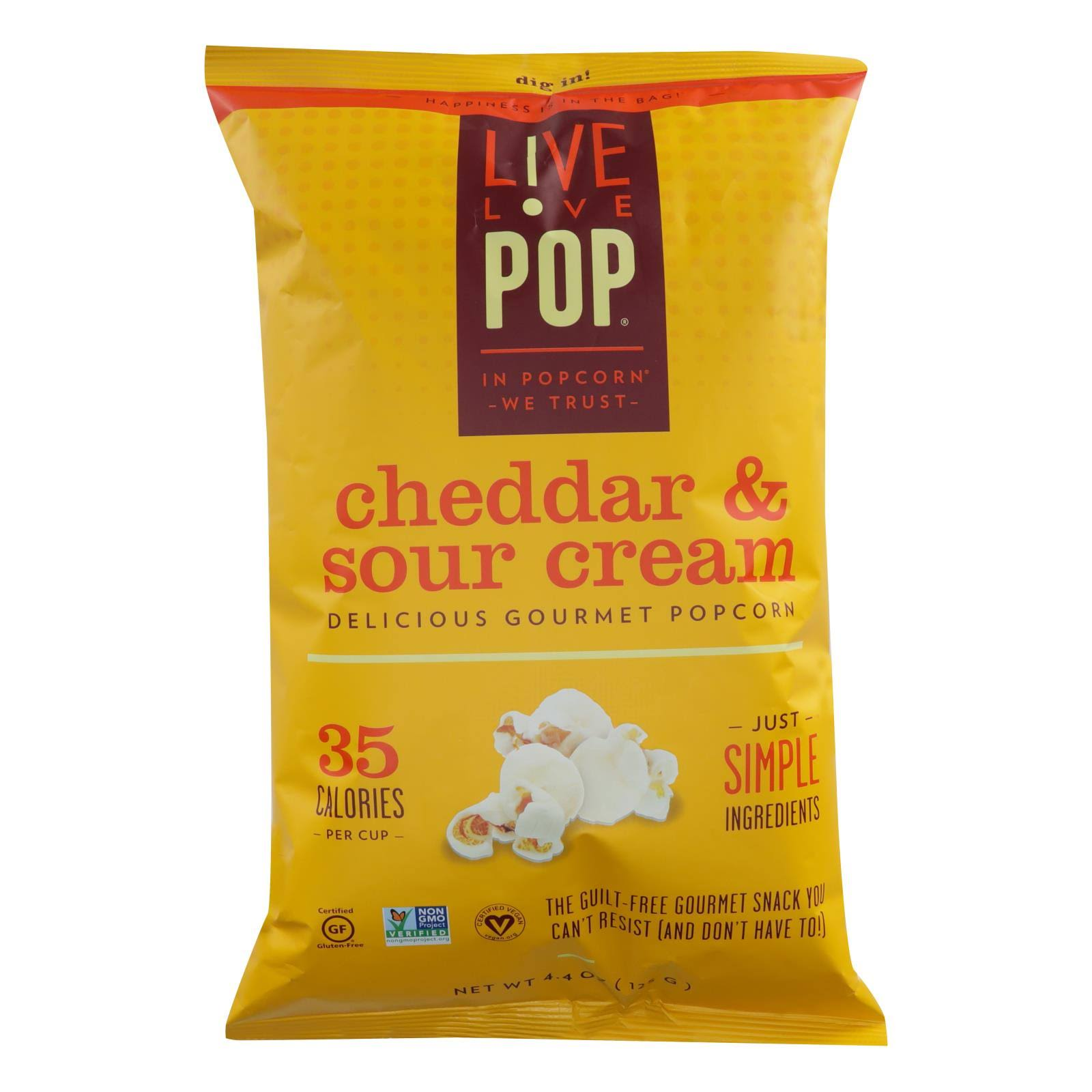 Live Love Pop Popcorn, Gourmet, Cheddar & Sour Cream - 4.4 oz