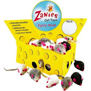 Zanies Cat Cheese Wedge Display and Furry Mice - 60 Count