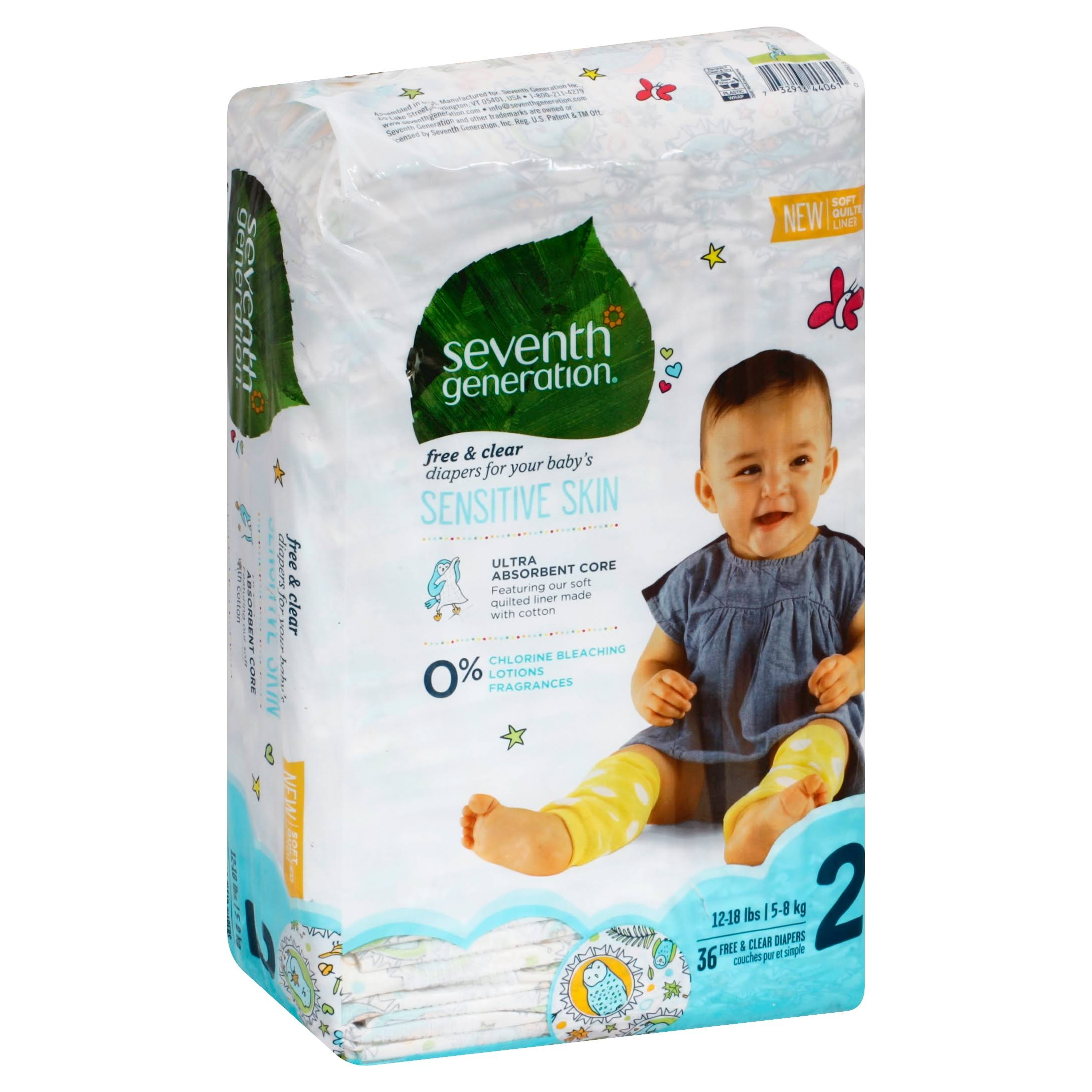 Seventh Generation Free & Clear Nappies - Size 2, x36