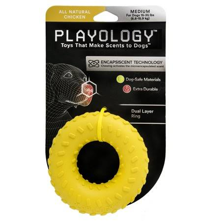 Playology Dual Layer Ring Dog Toy Chicken Scent, Medium