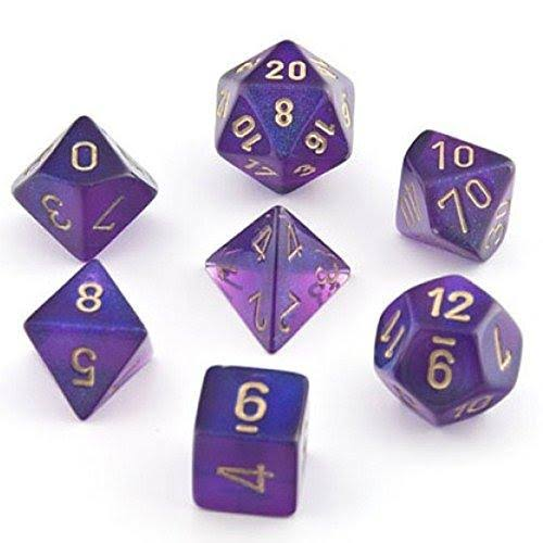 Chessex Borealis #2 Polyhedral Royal Die Set - Purple/Gold, Set of 7