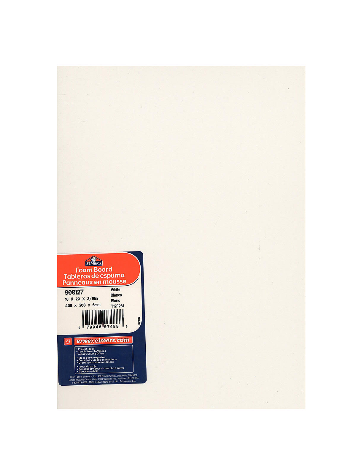 Elmer's Foam Board White 3/16 in. x 16 in. x 20 in. Each