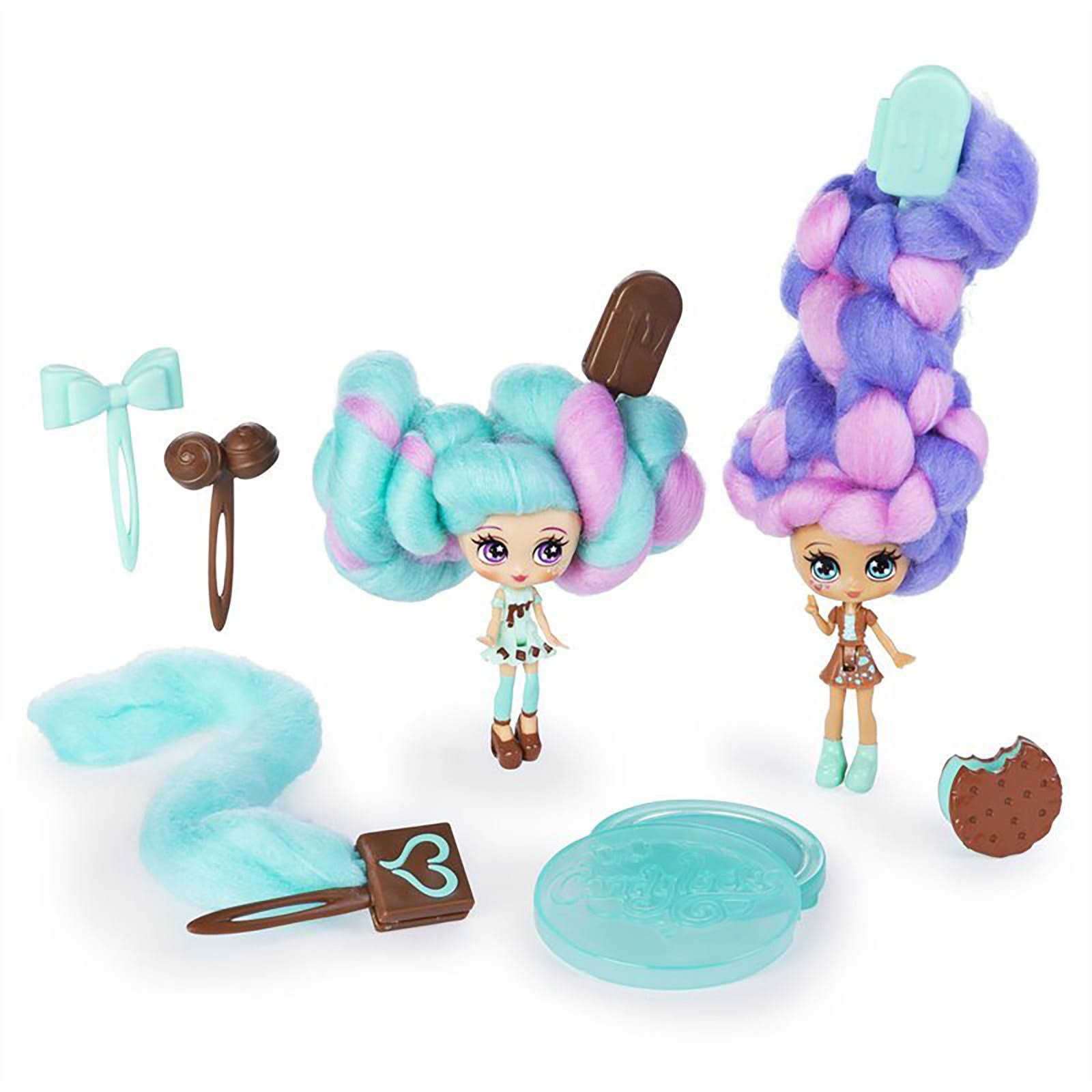 Spinmaster Candylocks, BFF 2 Pack, Mint Choco Chick & Choco Lisa, Scented Collectible Dolls with Accessories