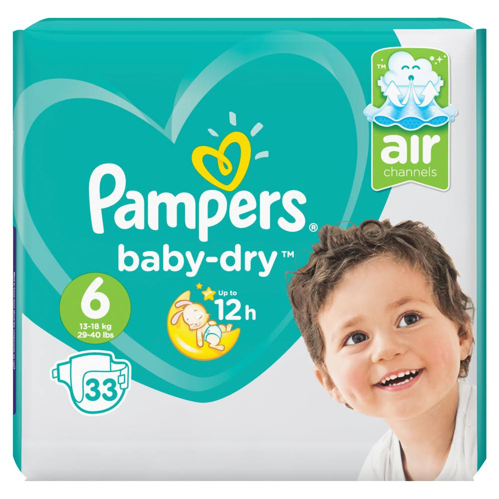 Pampers Baby Dry Diapers - Size 6, 33 Nappies, 13 to 18kg
