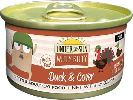 Under The Sun Witty Kitty Duck and Cover Cat Food - Turkey and Duck, 3oz