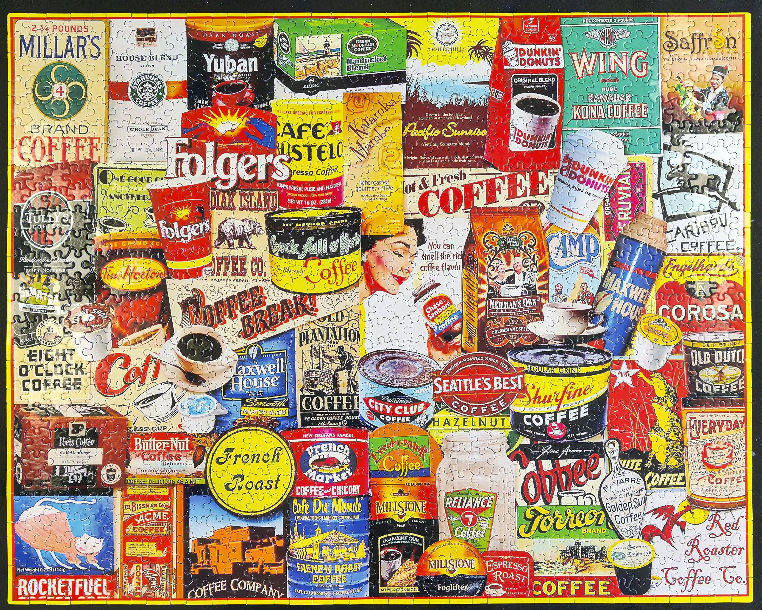 White Mountain Puzzles Jigsaw Puzzle - Great Coffee Brands, 1000pcs