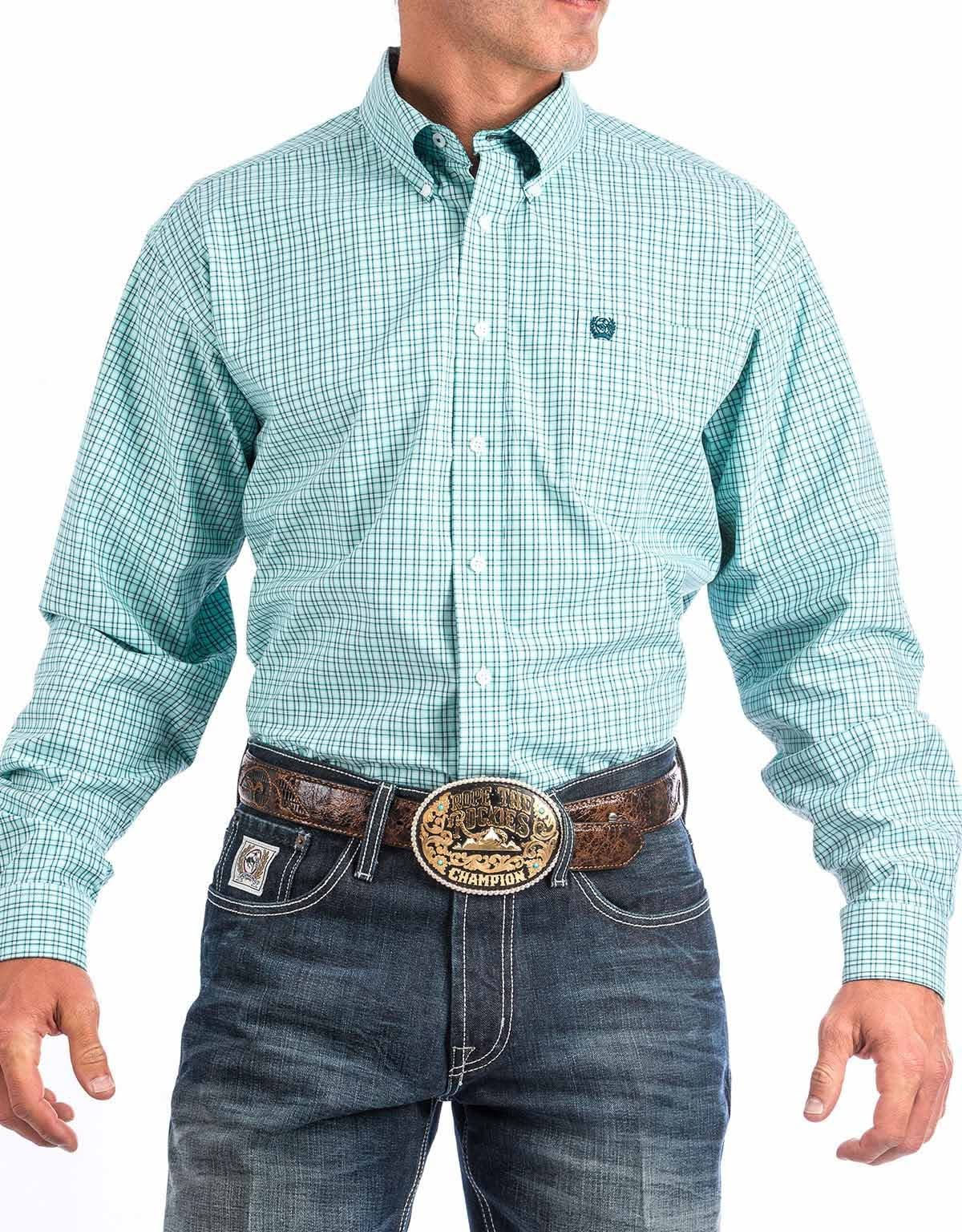 Cinch Men's Long Sleeve Plain Weave Plaid