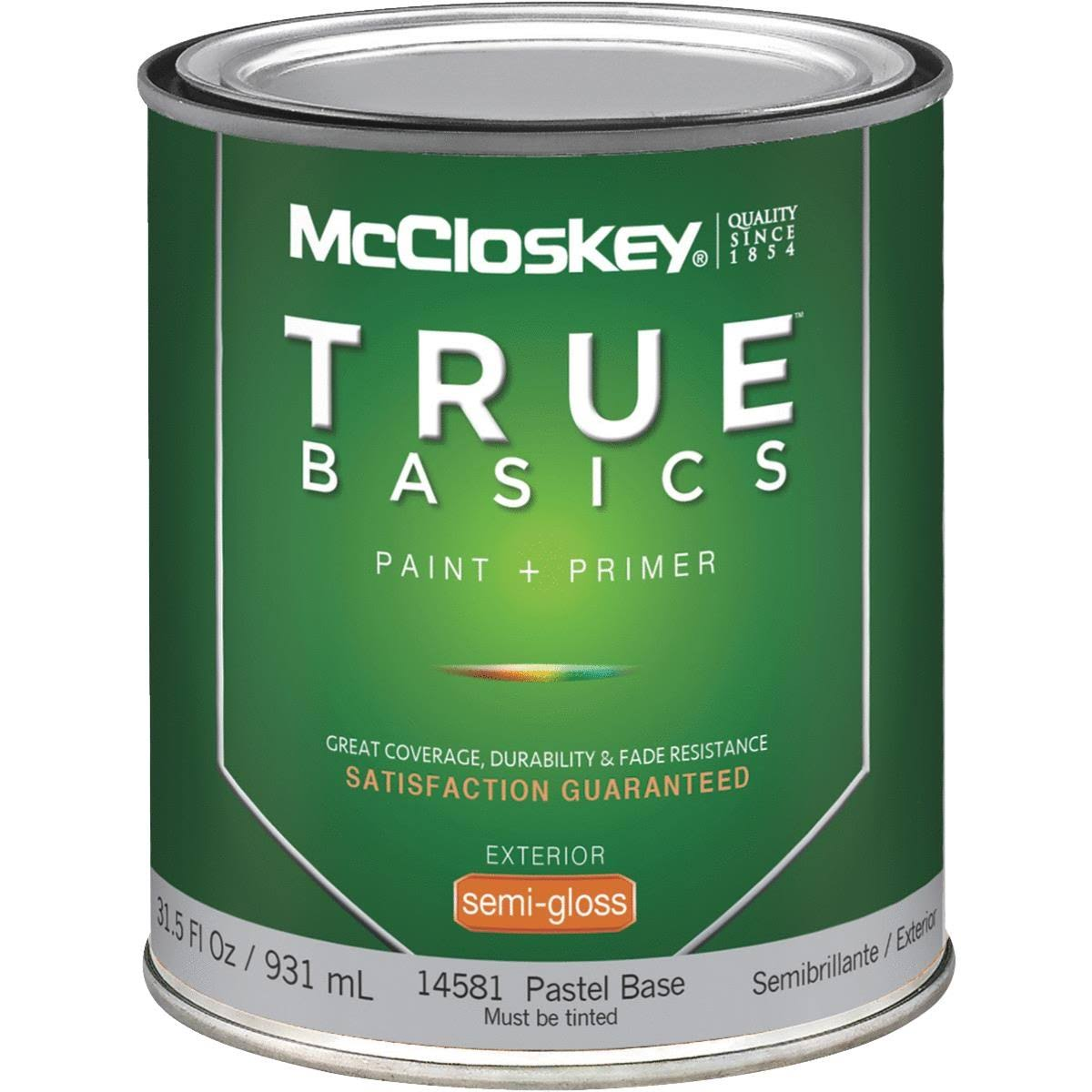 McCloskey True Basics Paint & Primer Exterior Semi-Gloss House Paint - 14581 Pastel Base, 931ml