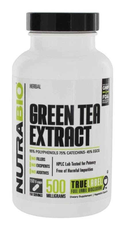 NutraBio Green Tea Extract Supplement - 500mg, 150 Count