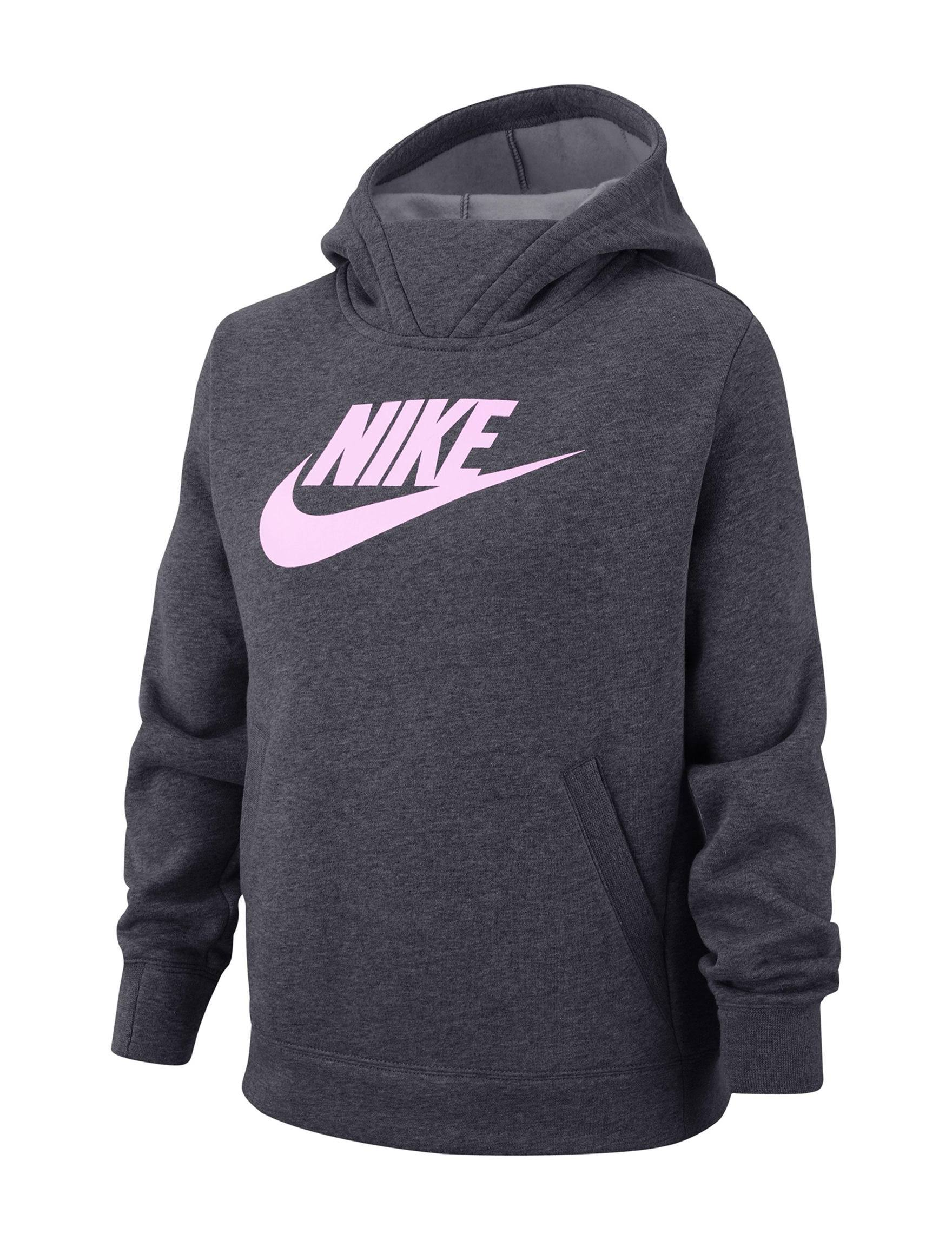 Nike Big Girls' Fleece Logo Hoodie - Grey