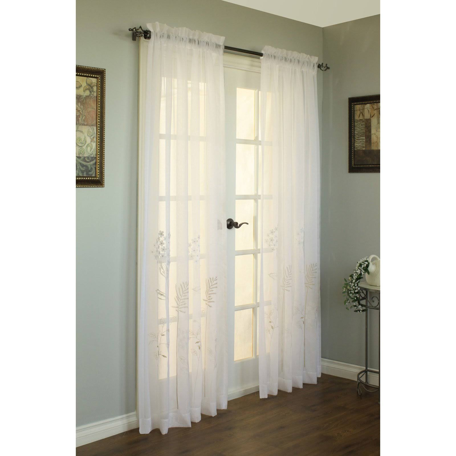 Commonwealth Hydrangea Pole Top Curtain Panel White