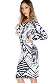 white black two tone printed design long sleeve knee length