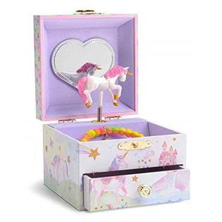 JewelKeeper Musical Jewelry Box with Spinning Unicorn, Glitter Rainbow and Stars
