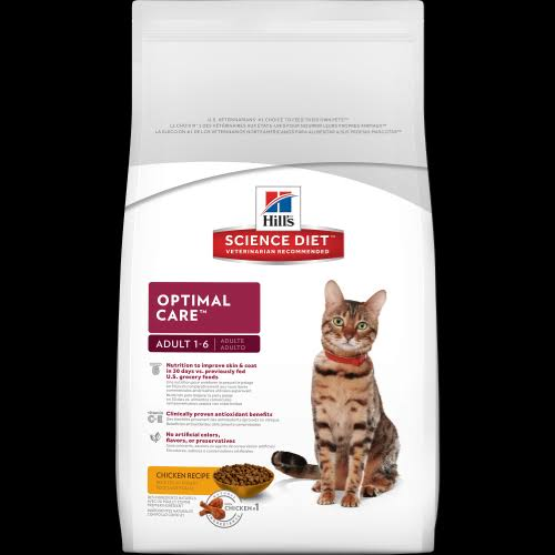Hill's Science Diet Optimal Care Premium Natural Cat Food - Chicken Recipe, Adult 1-6, 16lbs