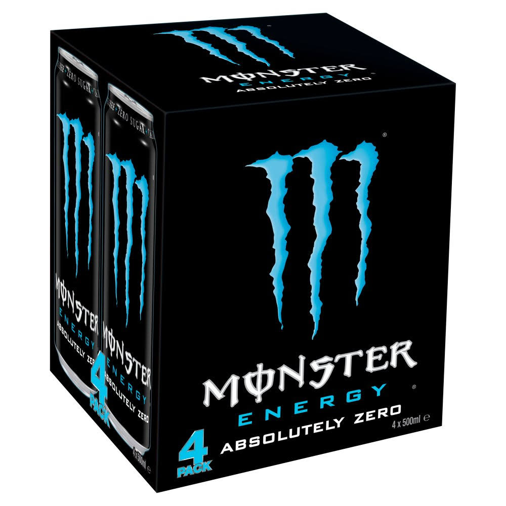 Monster Absolutely Zero Energy Drink - 4ct, 500ml