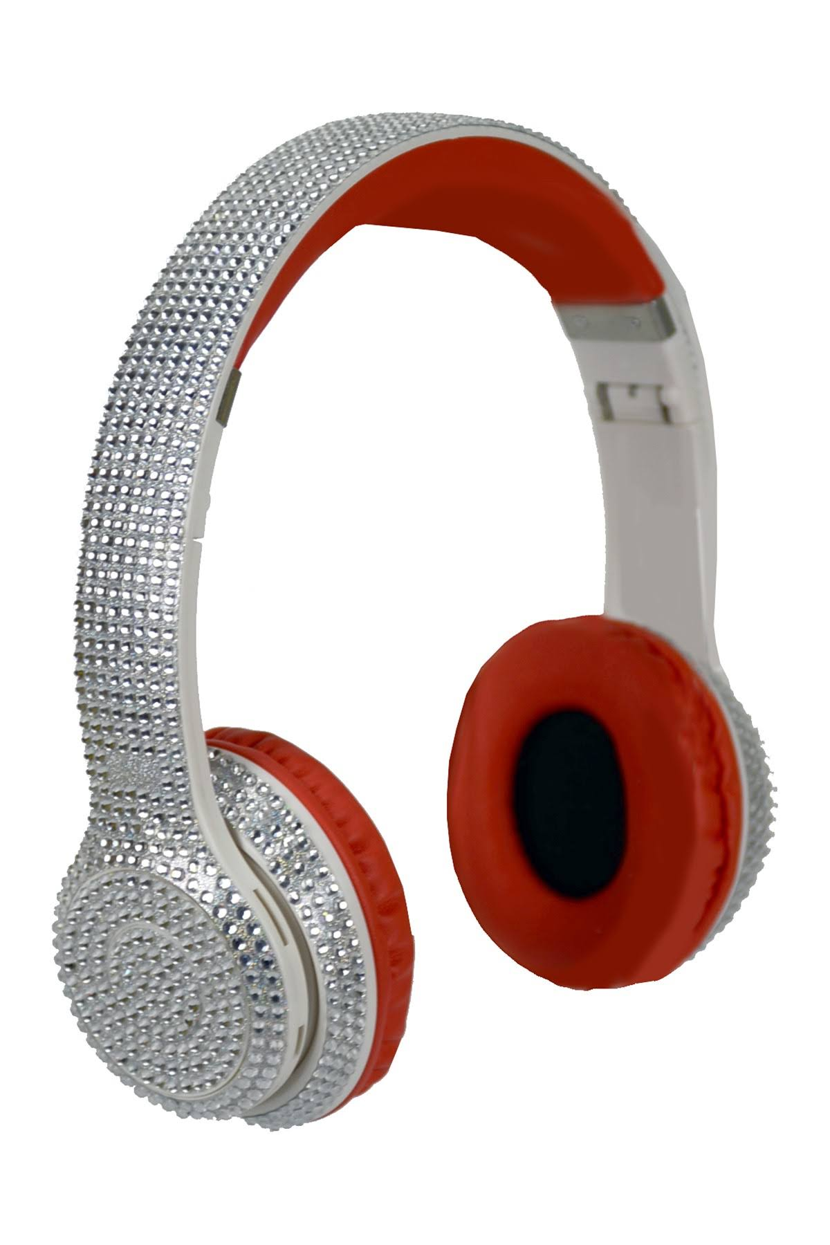 Wireless Express Bluetooth Stereo Silver Bling Head Phones