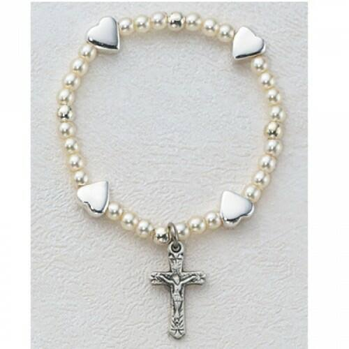 Sterling Silver Crucifix, Baby Heart Stretch Bracelet