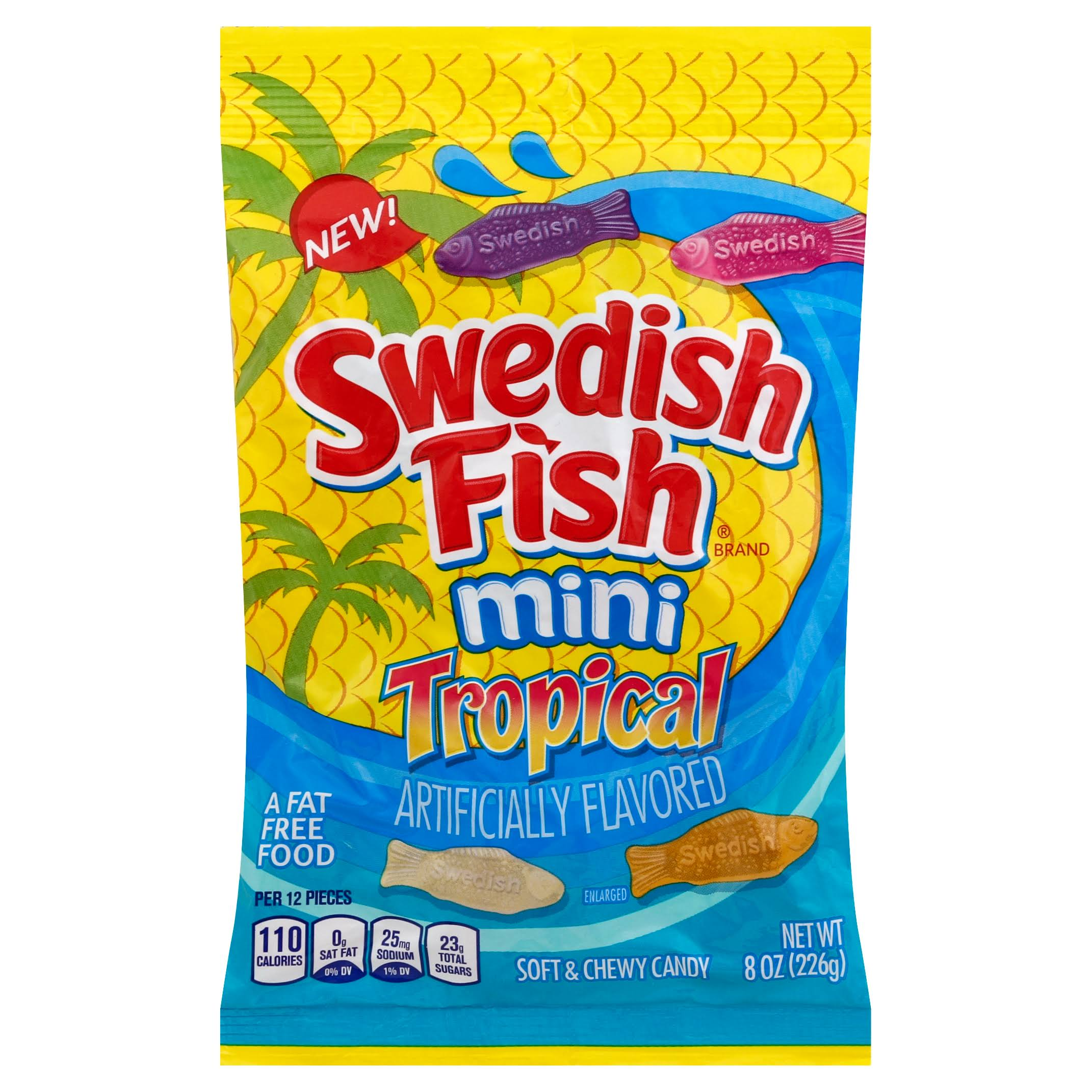 Swedish Fish Soft & Chewy Candy, Tropical, Mini - 8 oz
