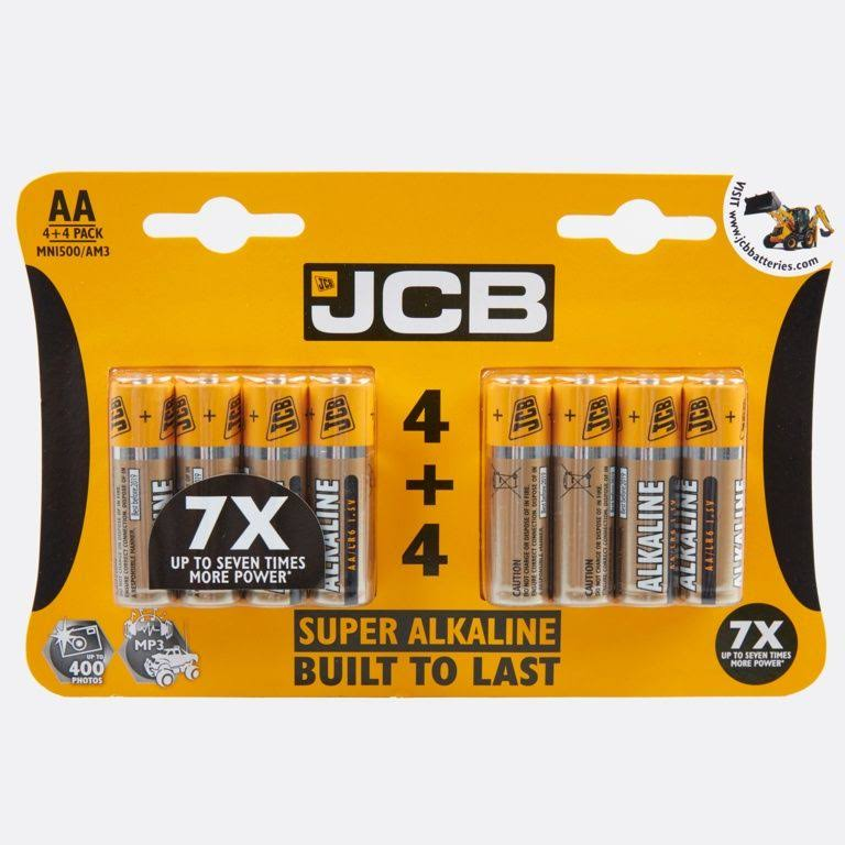 JCB Super Alkaline AA LR6 Battery - 4+4 Pack