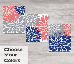 Coral Colored Decorative Items by Coral Navy Blue Gray Flowers Bedroom Decor Custom Bathroom