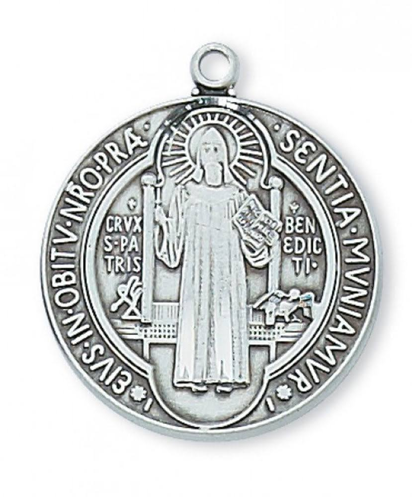 Sterling Silver Saint Benedict Medal 24 inch Chain & Box