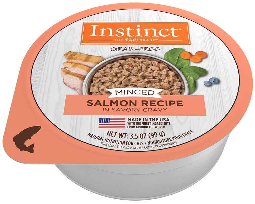 Instinct Grain Free Minced Recipe with Real Salmon Natural Wet Cat Food by Nature's Variety, 3.5 oz. Cups (Case of 12)