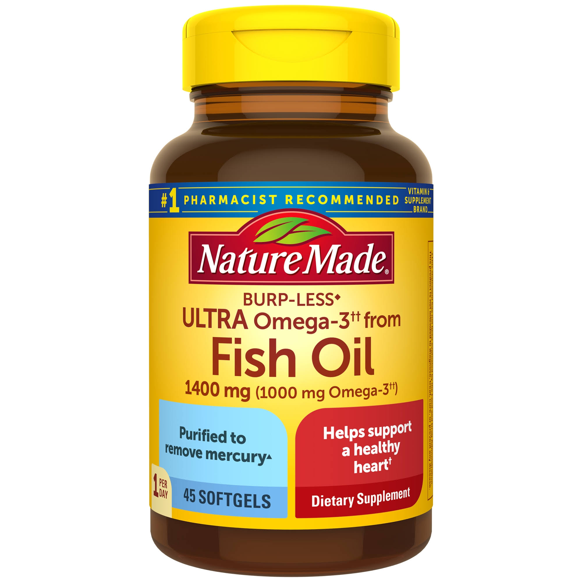 Nature Made Ultra Omega 3 Fish Oil Softgels - 1400mg, 45ct