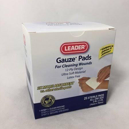 Leader Sterile Gauze Pads, 3 x 3inch, 25ct 096295102871A246