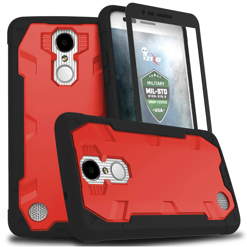 LG Aristo Case, Zizo Proton 2.0 Cover w/Screen Protector - LG Aristo/LG Fortune Black/Red