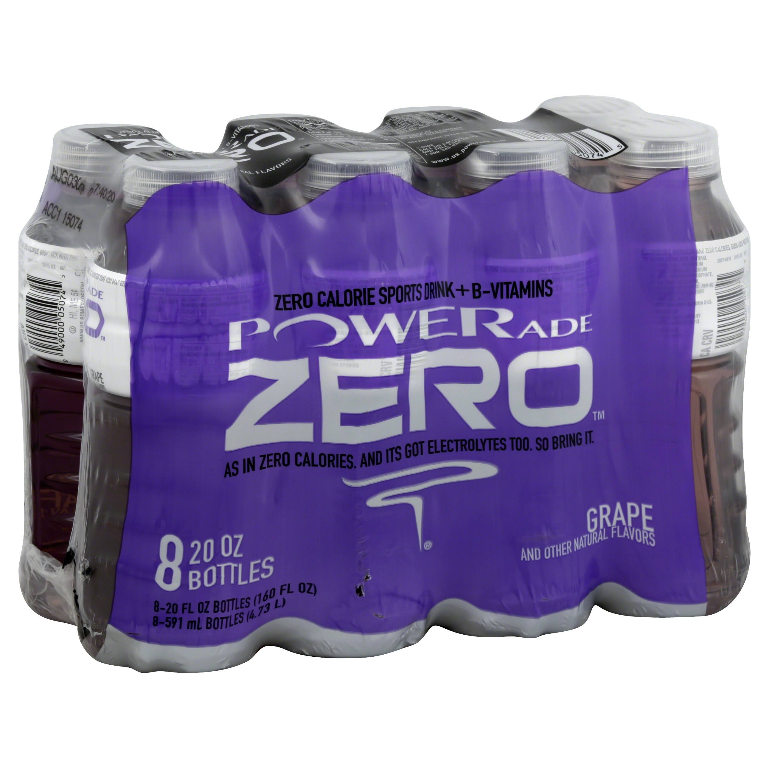 Powerade Zero Ion4 Sports Drinks - Grape, 20 oz, 8 pk