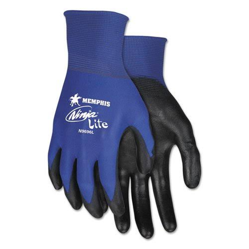 MCR Safety N9696S Coated Gloves,S,Black/Blue,PR