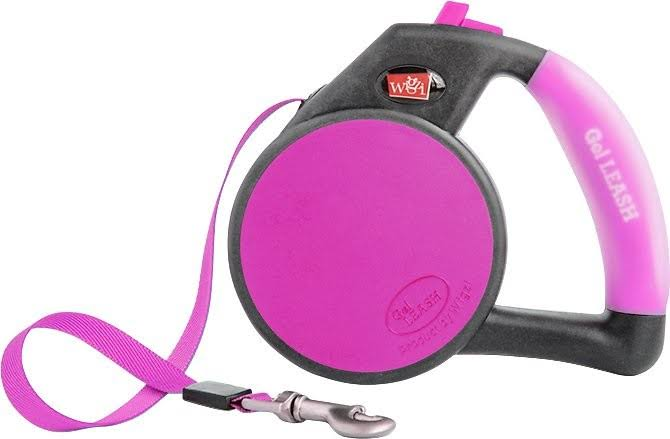 Wigzi Retractable GEL Dog Leash - Pink, Large
