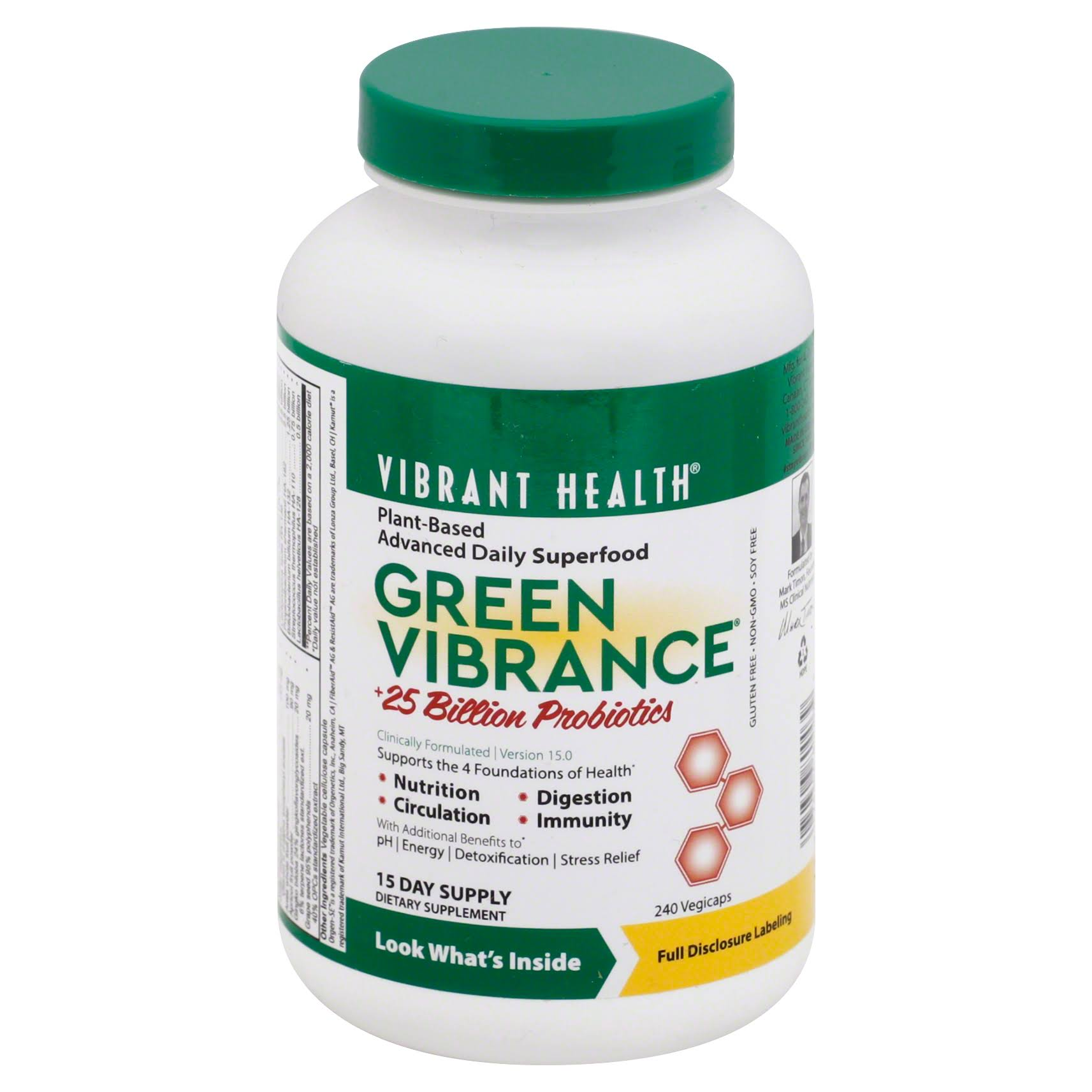 Vibrant Health Green Vibrance Dietary Supplement - 240 Capsules